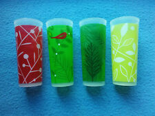 4-PC CHRISTMAS TUMBLER SET  Limited Edition Tupperware Red/Green Wintry Designs