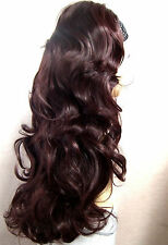Layers Dark Brown Mix Dark Auburn Long Curly 3/4 Wig Hairpiece Half Wig 069