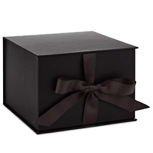 """Hallmark 7"""" Large Black Gift Box with Lid and Shredded Paper Fill for Christmas,"""