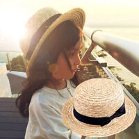 Cute Child Girls Kids 100% Straw Hat Boater Cap Beach Sunhat Flat Top Hats 54CM