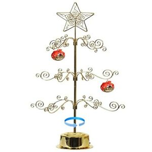"Metal Ornament Display Tree Stand Rotating Christmas Tree 24""H Gold"