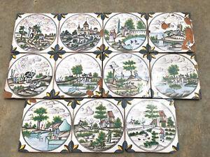 Vintage Conimbriga Portugal Tiles Lot Cattle Farmers Castle Windmill Art Pottery