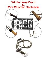 EDC Hunting Fishing Fire Starter Necklace Survival Card Tool Hooks Snare Locks