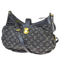 Auth LOUIS VUITTON XS Shoulder Bag Monogram Denim Leather Black M95608 14MB974