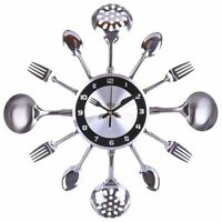 Kitchen Wall Clock Stainless Steel Mediterranean Style Home Decoration Accessory