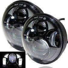 "5-3/4"" White LED Projector Light Bulb Headlight Black Crystal Clear Set H5006"