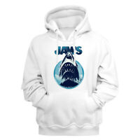 Jaws Movie Jaws Coming Out Of The Water White Adult Pullover Hoodie