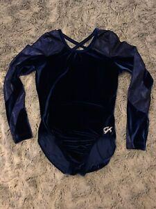 Blue velvet GK Elite leotard gymnastics Size L