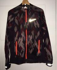 Nike TRAIL MEN'S RUNNING JACKET PACKABLE Dropped Back Hem Burgundy Orange Medium