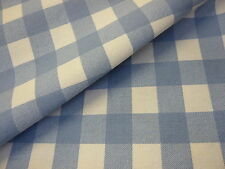 3mts SUPERB QUALITY UK 100%COTTON CANVAS GINGHAM FABRIC BLUE