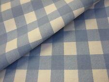 3mts SUPERB QUALITY UK 100%COTTON CANVAS GINGHAM FABRIC BLUE