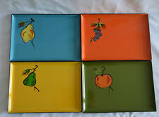 Vintage Japan Laquer Ware Canape Tray Complete Set of 8 Colorful Fruit 5 x 7""