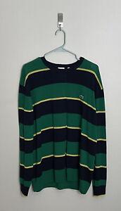 Lacoste Live! Mens Blue & Green Striped Sweater W Orange Faux Elbow Patches Sz 7