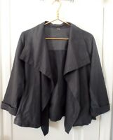 Lucy Womens Large Gray Linen Jersey Open Front Waterfall Jacket Lagenlook Boxy