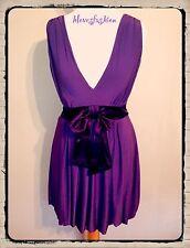✨💜BAY Purple Dress Gorgeous Polyester Bow Sash Satin UK 8 EU 36 US 4 FAST📮💜✨