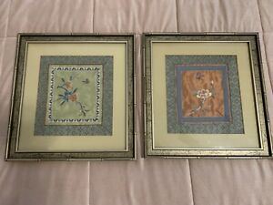 Pair Of Asian Silk Embroidered Textile Art Framed Bamboo Wood