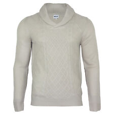 Men's Shawl Neck Knitwear Long Sleeve Winter Jumper Beige Top