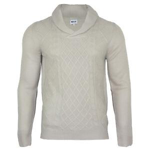 Men's Shawl Neck Knitwear Long Sleeve Winter Jumper Beige Top