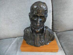 "Giacometti  alva museum replica bust on wooden base bronze finish 8"" high"