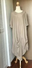 Women 's Chic Dress Beige Short Sleeve Round Neck  Pullover Size 2XL Chest 42""