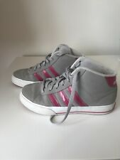 Girls ADIDAS Hi-top Boots ( Uk Size 3 ) Grey With Pink Stripes.