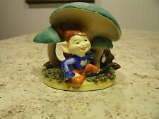 Very Unique Vintage Handpainted Gnome / Elf Under Mushroom Planter Figurine