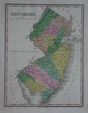 Original Color 1824 Finley Map NEW JERSEY 13 Counties Lighthouses Proposed Canal
