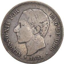 Spain España Silver 2 Pesetas 1881 (81) RARE!