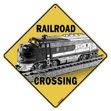 "Railroad Crossing Metal Sign 16 1/2"" x 16 1/2"" Diamond shape made in USA #416"