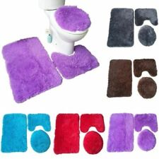 3Pc Soft Flannel Soild Bathroom Bath Rug Contour Mat Toilet Lid Cover Cushion
