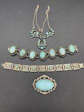 Vintage Blue Turquoise Glass Lotbracelets Brooch Necklace