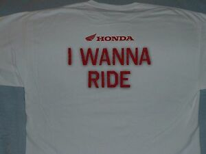 HONDA I WANNA RIDE CLASSIC WING - NEW Large - RED LOGO on WHITE T-SHIRT
