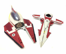 STAR WARS Clone Wars OBI WAN's JEDI FIGHTER 2 part ship vehicle toy & figure set