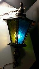 Vtg Retro Mid Century Chain Hanging Lamp Light Fixture wood /glass