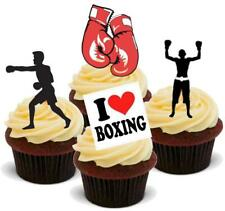 BOXING MIX 12 STAND UP Edible Cake Toppers Premium Wafer Paper Stand Ups Boxer