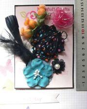 TEAL PINK BLACK & ORANGE Fabric 7 Flower + Feather Pk 25-55mm Njoyfull Crafts G1