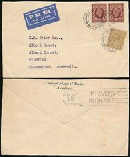 MUSIC TRINITY COLLEGE GB 1936 to AUSTRALIA AIRMAIL + BUSH FIRES SLOGAN