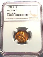 1931 S Lincoln Cent  Superb Gem BU Red ( PCGS MS-65 Red )