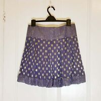 M&S Limited collection Mini Purple Metallic Gold polka dot Pleated A skirt sz.10