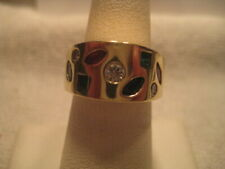 14 KT MULTI COLORED STONE RING, DIA, SAPPH, RUBY AND EMERALD