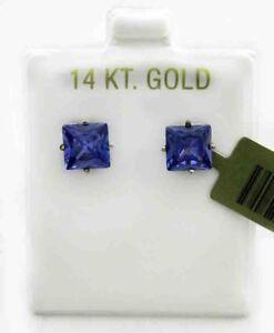 TANZANITE 3.70 Cts PRINCESS CUT EARRINGS 14K WHITE GOLD * Free shipping Service