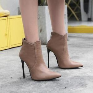Womens Pointy Toe Stiletto High Heels Ankle Boots Back Zipper Party Casual Shoes
