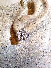 Genuine White Sapphire Flower 925 Sterling Silver Vintage Button Stud Earrings