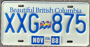 ◕‿◕ AUTHENTIC CANADA 1988 BRITISH COLUMBIA FLAG LICENSE PLATE.