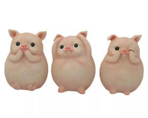 Three Wise Fat Piggies 8.5cm See No Hear No Speak No Evil NEMESIS NOW FREE UK PP