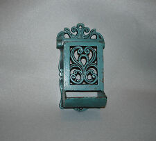 Vintage Wilton Green Cast Iron Match Holder Wall Mount