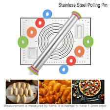 Stainless Non Stick Rolling Pin Mat Adjustable Ring Baking Cookies Pizza Pastry