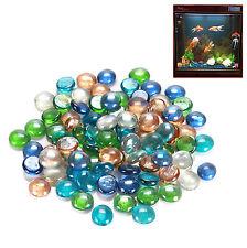 250g Glass Nugget Pebbles Colorful Round Beads Stones For Fish Tank Aquarium Dec
