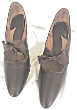 Vintage Pointy Toe Heels w Bow Brown Man Made Faux Leather 8.5Aaa Narrow