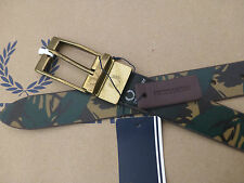 FRED PERRY Slim Leather Belt Men's CAMO Size 36 Chocolate REVERSIBLE Belts BNWT